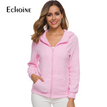 цены Spring Autumn Casual Warm Jacket Hooded 2019 New Female Sweatershirt Coat Solid Soft Fleece Women Coat Zip-up Top plus size 5XL