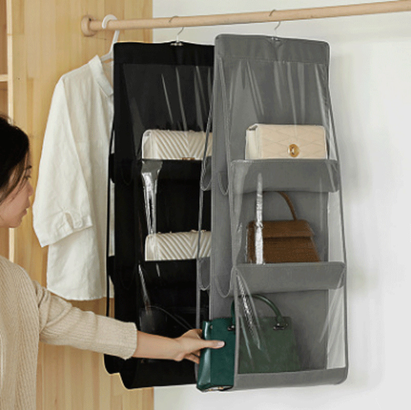 Ougger Non-woven Fabric Hanging Storage Bag 6 Pocket Transparent Pocket Double Side Hanging Closet Foldable For Organize