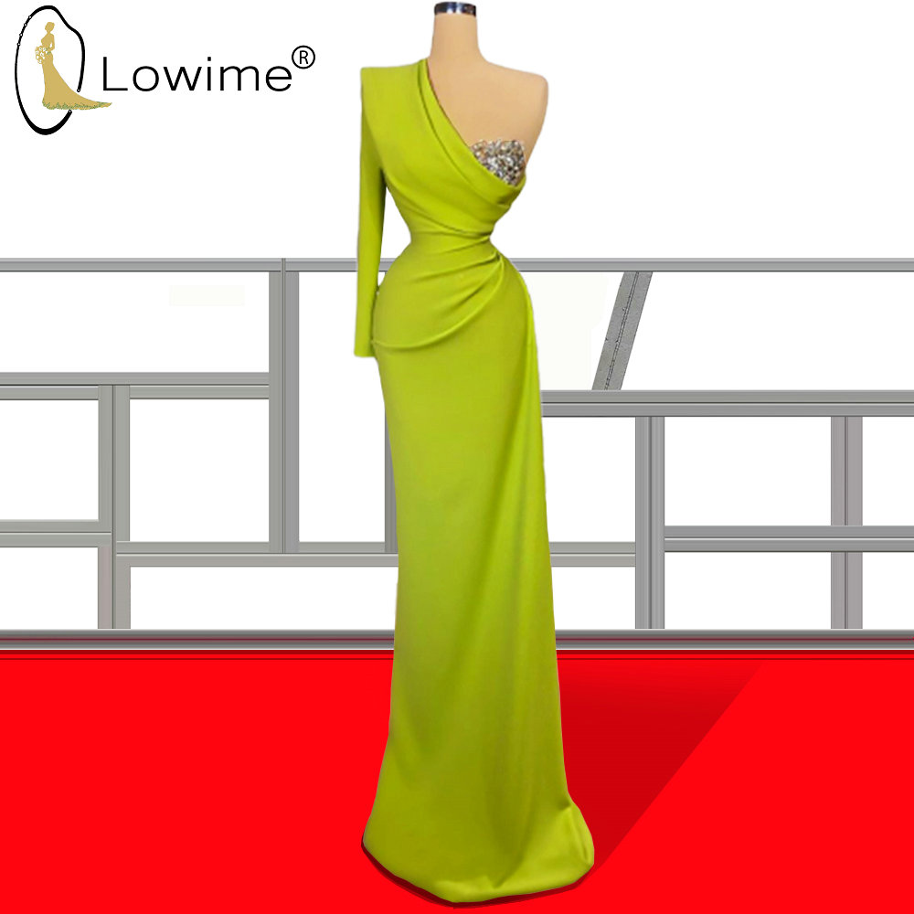 Graceful One Shoulder Long Sleeve Mermaid Evening Dresses Ruched Crystal Robe De Soiree Formal Women Dresses Prom Party Gowns