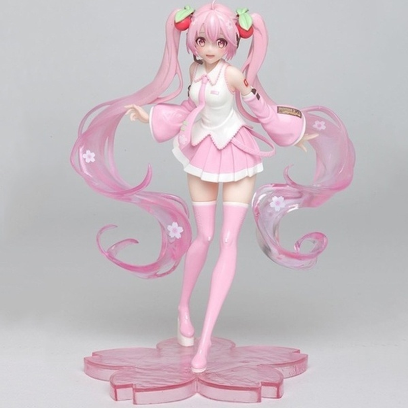 High Quality Anime Hatsune Miku Pink Sakura Miku VerPVC Statue Figure Speelgoed Girls Model Toys 18cm