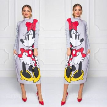 2019 Spring Cartoon Mickey Print Dress Women Long Sleeve Turtleneck Maxi Dresses Plus Size Femme Casual Gray Loose Long Dress casual long sleeve geometric print plus size dress for women