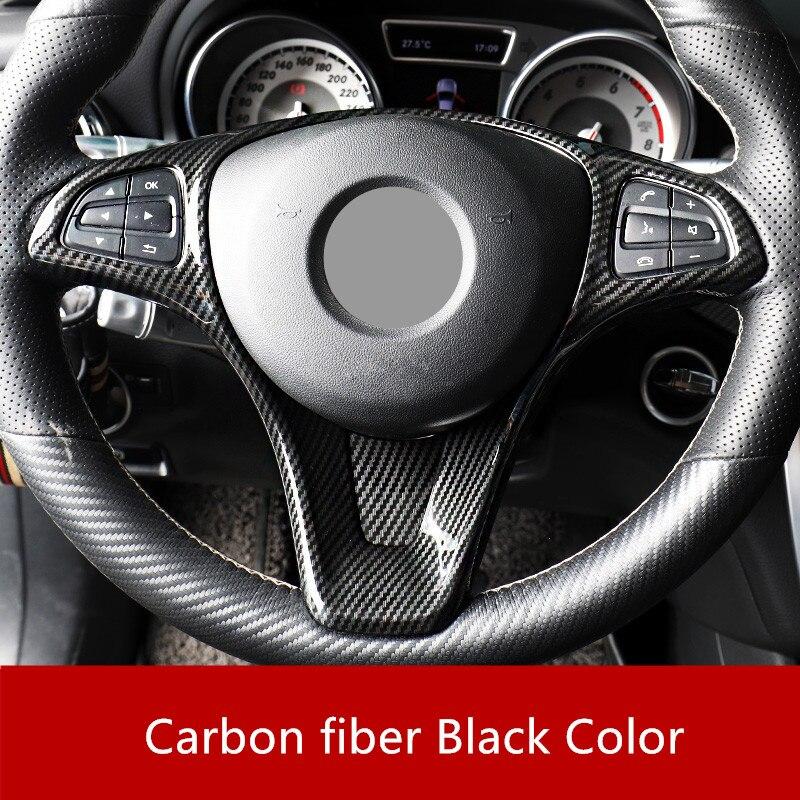 Karbon Fiber stil direksiyon düğmesi krom çerçeve Trim için Mercedes Benz CLA C117 bir sınıf W176