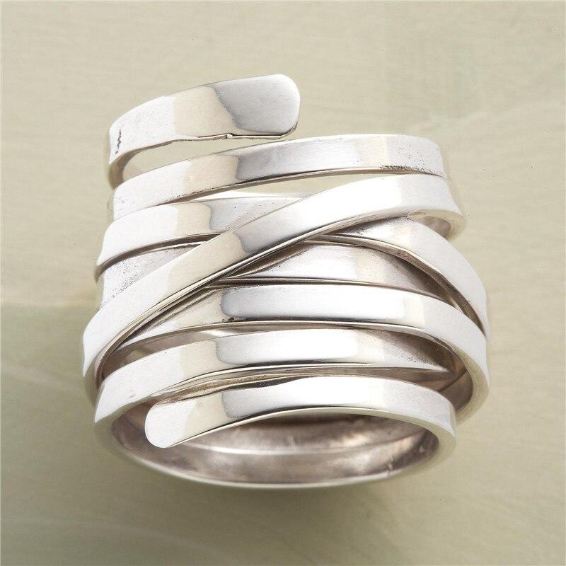 Многоярусные запутанные кольца для женщин, ювелирные изделия, кольцо на палец, женские Серебристые большие кольца для женщин, женские Модны...