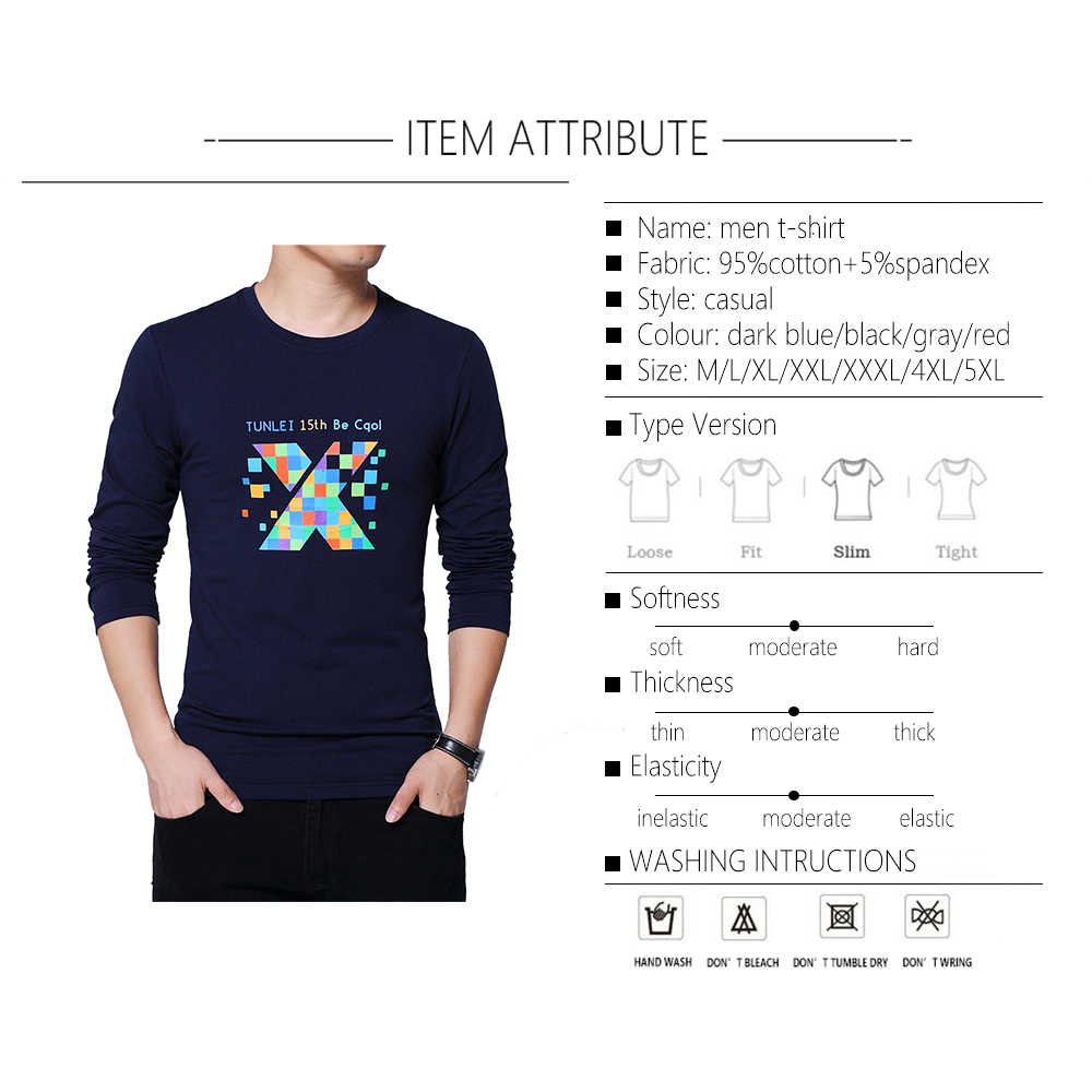 TFETTERS, nuevas grandes camisetas de otoño para hombre, para hombre Camiseta de algodón de manga larga, camiseta de alta calidad con letras impresas, camiseta informal de talla grande 5XL