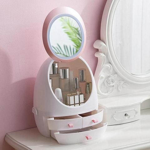 Usb recarreg vel maquiagem espelho port til organizador caixa de armazenamento cosm ticos gaveta espelho