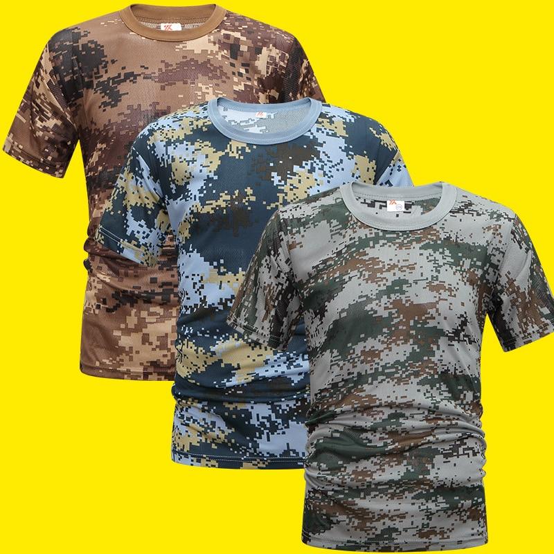 2020 Military Camouflage Tactical T Shirt Men Women Outdoor Short Sleeve Quick Drying Mesh Combat Shirt Training Clothing 3XL