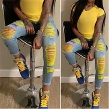 Женские рваные джинсы узкие женские горячая Распродажа с высокой
