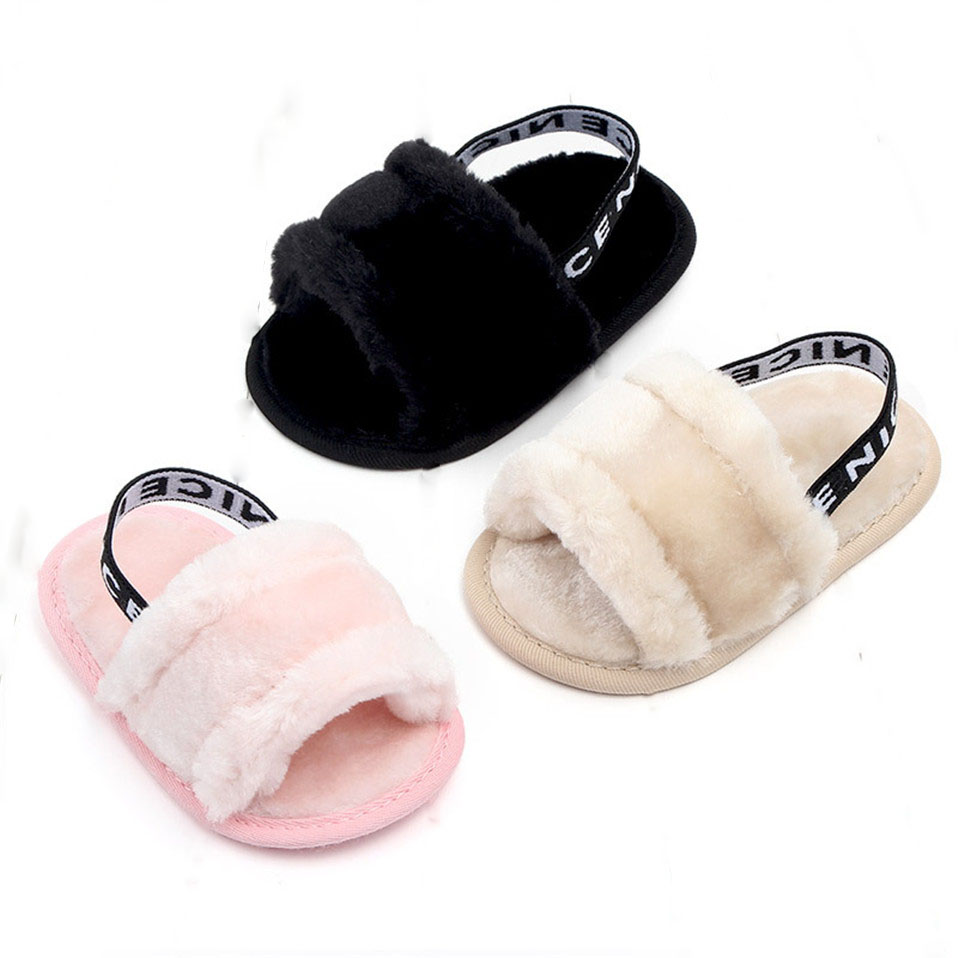 New Arrival Faux Fur Baby Shoes Winter Keep Warm Nice Cute Infant Baby Girls Shoes Anti-slip Soles Indoor Shoes For 0-18M