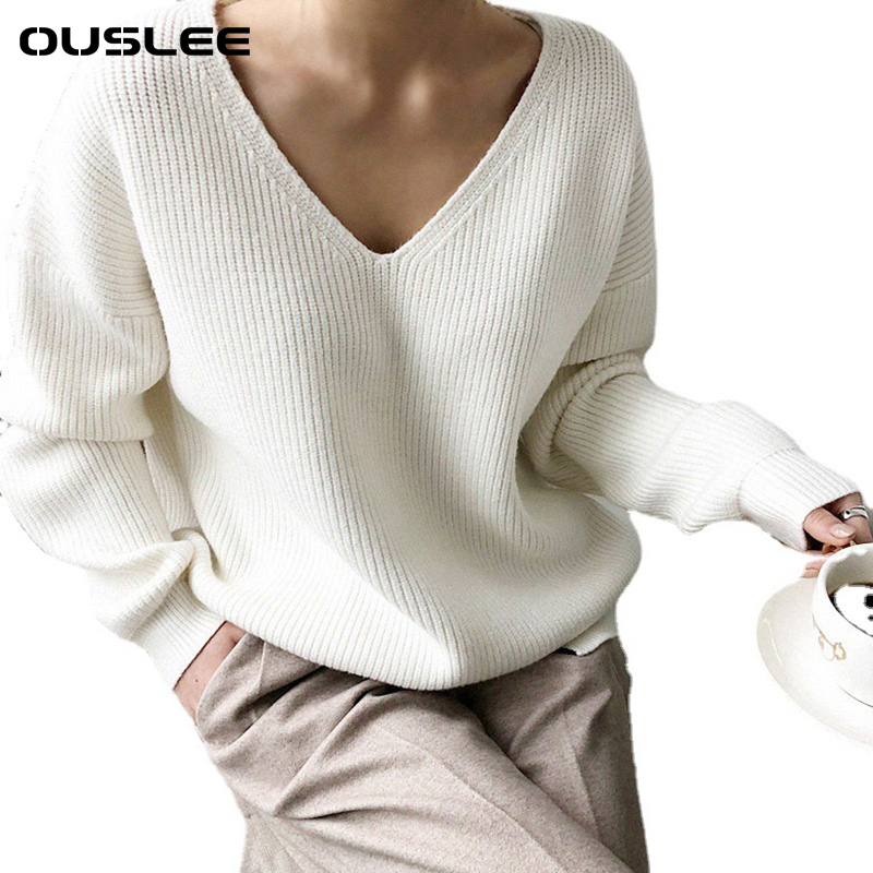 OUSLEE 2021 Spring Autumn Long Sleeve Sweater Women V-neck Basic Solid Pullovers Female Korean Style Casual Knitted Sweaters Top