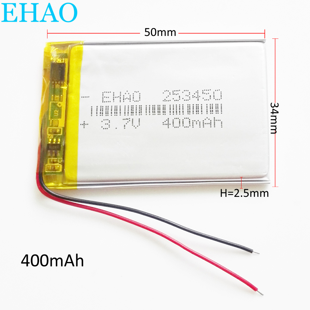 EHAO 253450 3.7V 400mAh Ultra Thin Lithium Polymer LiPo Rechargeable Battery Cells For Mp3 GPS Smart Watch Speaker