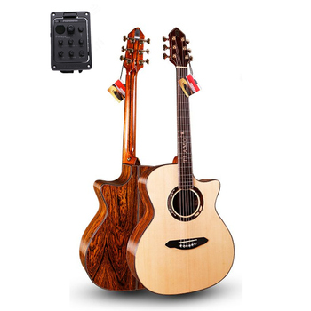 Professional Solid Guitar,41 Cutaway guitar with Solid SITKA SPRUCE Top/ Colorful butterfly wood Body,with pickup T-A110CE top quality gyhl 0009 headless blue color ash wood body with f hole quilted maple veneer cover active pickup electric guitar