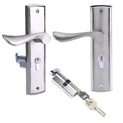 Прочная дверная ручка замка, цилиндрическая Передняя Задняя защелка с кнопками для домашней безопасности, Двойная защелка, дверная панель ...