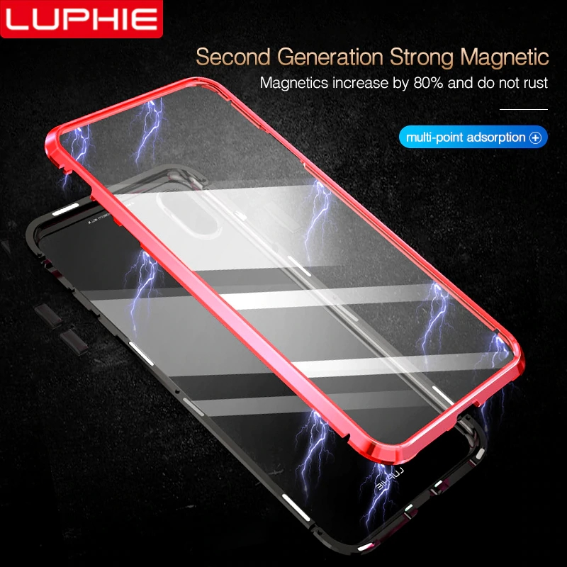 Luphie Full Wrapped 9H Tempered Glass Magnetic Case for iPhone 7 8 X Magnet Phone Case for iPhone 7 Plus 8 Plus XS MAX XR Cover