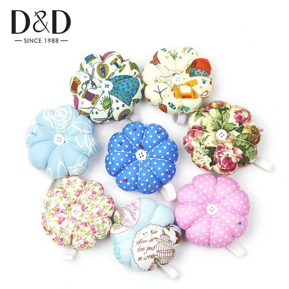 D D縫製ピンクッションカボチャの形のソフト綿生地ボタン手首ストラップクロスステッチ縫製安全ピンクッションアクセサリー ピン 針山 Gooum
