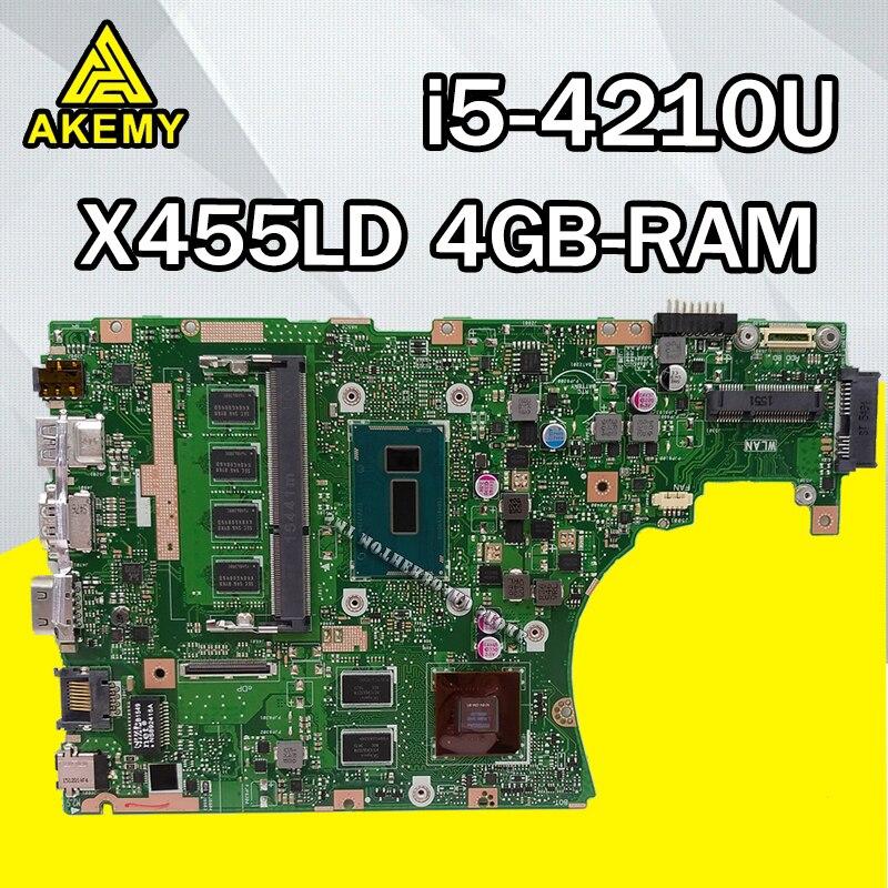 Pour ASUS X455LD X455L F455L F454L R455L W419L K455L X455LJ A455L i5-4210U 4g carte mère pour ordinateur portable testé 100% performance frais