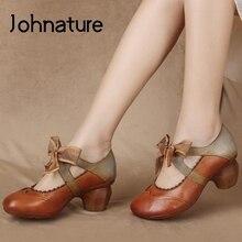 Johnature bombas retro sapatos femininos de couro genuíno rendas-up cores misturadas 2021 nova primavera/outono artesanal concisa senhoras sapatos