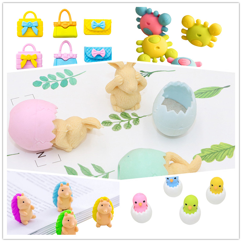 36pcs/lot Lovely Diverse Cartoon Animal Eraser For Kids Girls Gift  Supplies Stationery