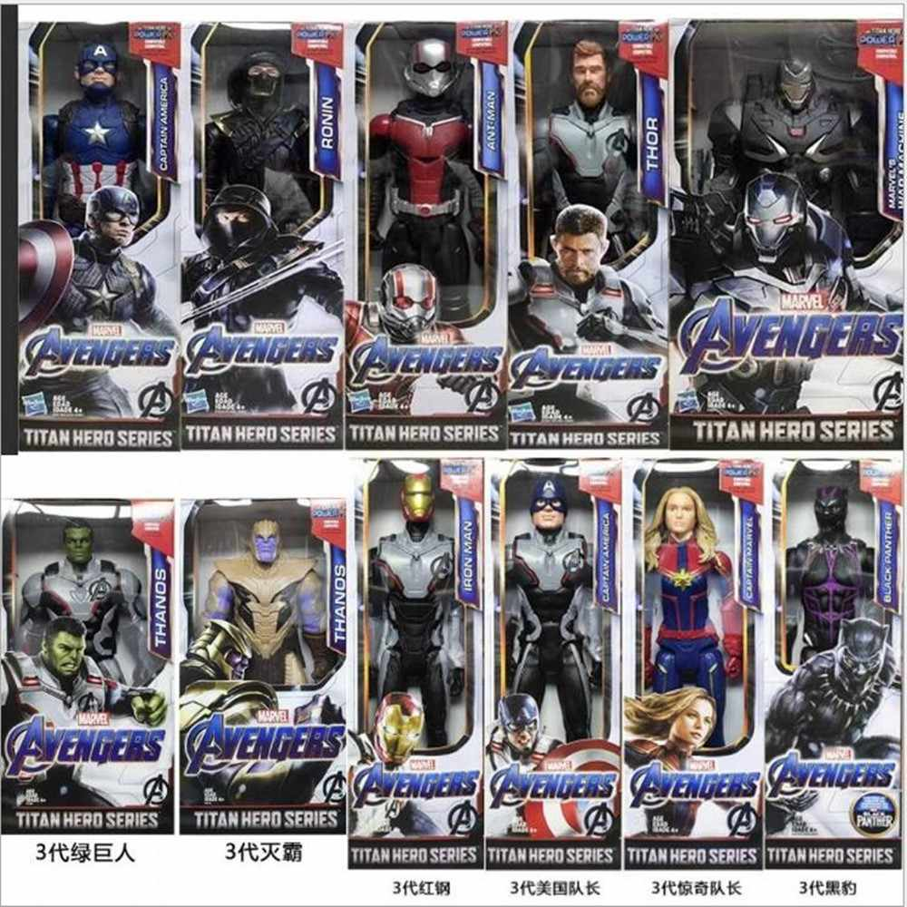 "12 ""30 ซม.Marvel Avengers 4 Final War StarForce Super HERO Titan HERO Thor Iron Spider Man Thanos รุ่นของเล่นตัวเลขการกระทำ A030"