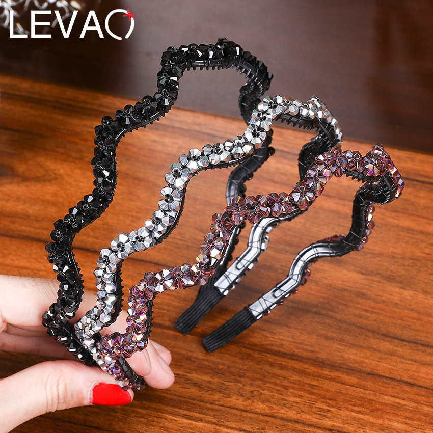 Levao New Shiny Luxury Rhinestone Hair Band Headband Bezel New Diamond Hair Hoop Crystal Hairbands Womens Hair Accessories