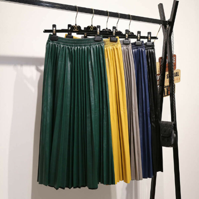 2019 Autumn Fashion New PU Leather Pleated Skirt Elastic High Waist All-match Women Bottoms 8 Colors