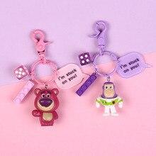 New Toy Story Strawberry Bear Woody Buzz Lightyear Keyring Girl Cute Alien Figure Dolls Keychain Pendant Men