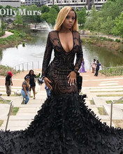 Sparkly Sexy Sheer Long Sleeve Mermaid Boat Neck Golden Sequin African Floor Length Black Prom Dresses
