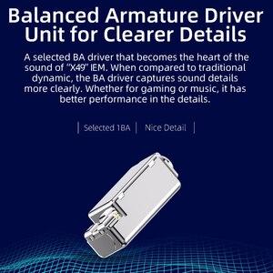 Image 4 - Nicehck x49 única ba armadura balanceada driver mini fone de ouvido alta fidelidade metal no monitor do jogo sono dj música com fio microfone iem