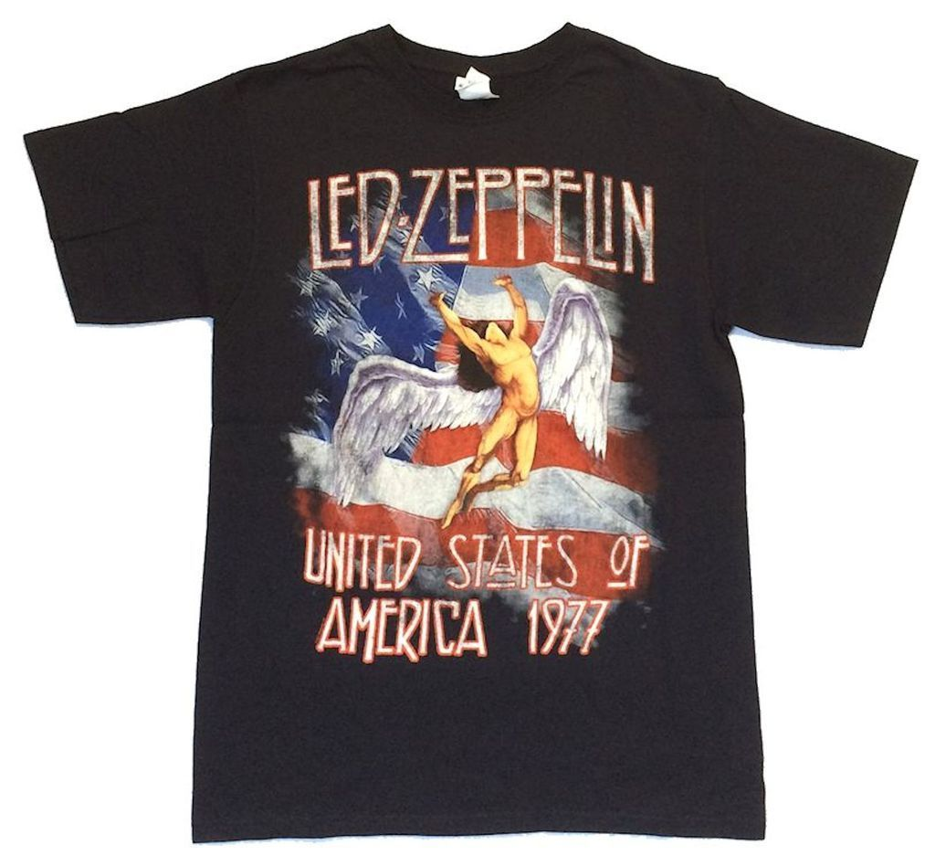 Led Zeppelin USA Flag 1977 Swan Song Black T Shirt New Official Merch Tall Sizes image