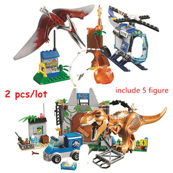 2pcs Jurassic World Park Pteranodon Escape T.rex Breakout Building Blocks Sets Classic Movie Model Kids Toys For Children Gift 1 sets kendo new lele swordsman ninjagoed movie kai lloyd sensei wu snake bronk zane nya blocks accessories gift kids toys