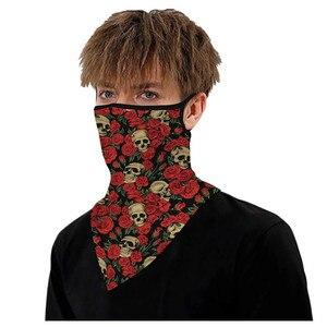 Estampado de calavera sin costuras para exteriores máscara con orejas, bufanda deportiva, tubo para el cuello, antipolvo, protección para la boca, para exteriores