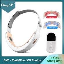CkeyiN Chin V-Line Up Lift Belt Machine синий светодиодный Фотон терапия лифтинг для лица Массажер для похудения Вибрация двойной подбородок Редуктор 48