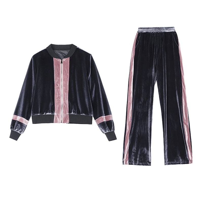 2019 Autumn Velvet Two Piece Sets Outfits Women Plus Size Jacket And Pants Suits Vintage Elegant Fashion Casual Sets Black Grey 45
