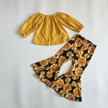 Новое поступление, осенняя одежда для маленьких девочек, одежда для девочек с подсолнухами, желтый топ, рубашки с подсолнухами и штанами с колокольчиками