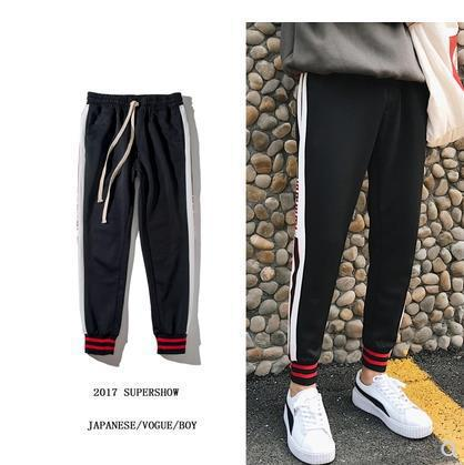 2018 Spring Casual Pants Men's Slim Fit Pants Korean-style Trend Capri Sports Pants Stripes Versatile Students Sweatpants