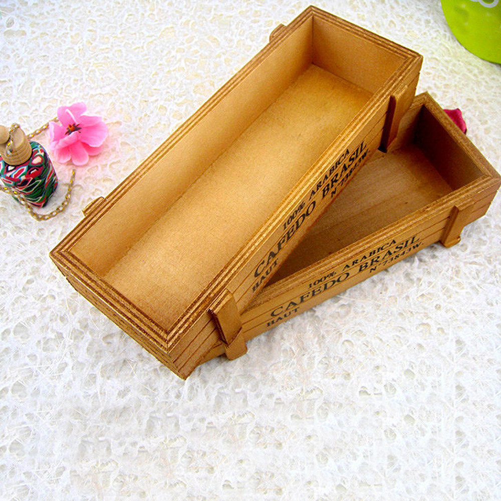 Vintage Wooden Boxes Crates Flower Pot Kitchen Trinket Desktop Storage Case Practical Use Decoration Home Decoration Maison #20