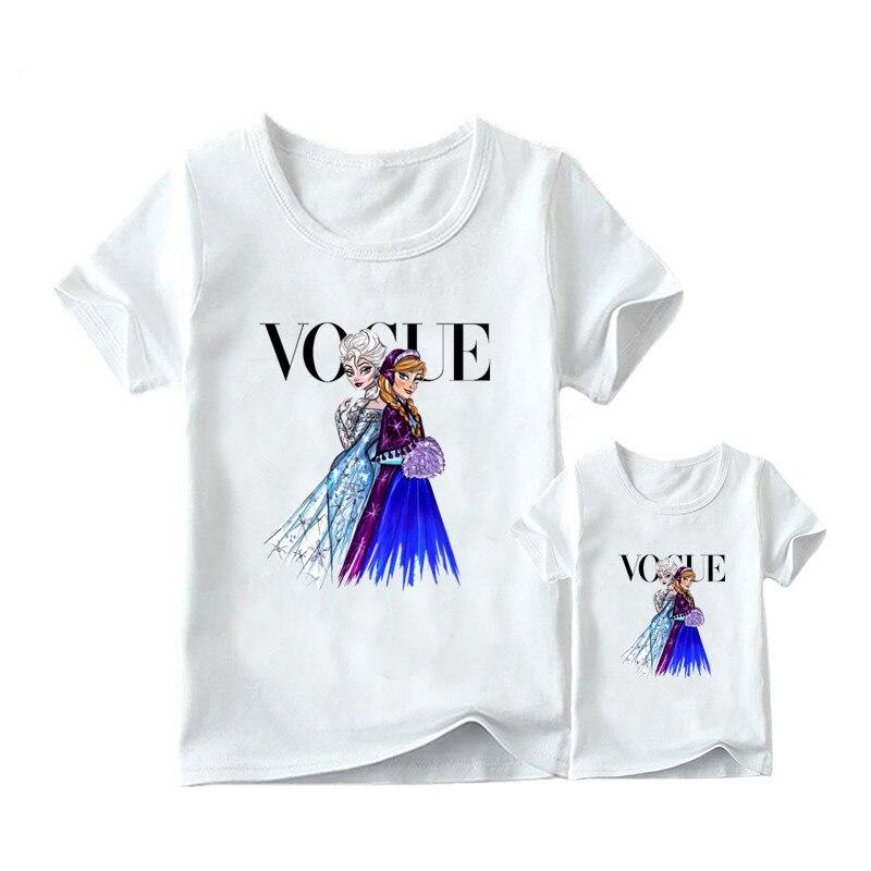 1 предмет, г. Летняя футболка с принтом принцессы в стиле панк модная одежда для мамы и дочки забавная семейная футболка с короткими рукавами - Цвет: 11
