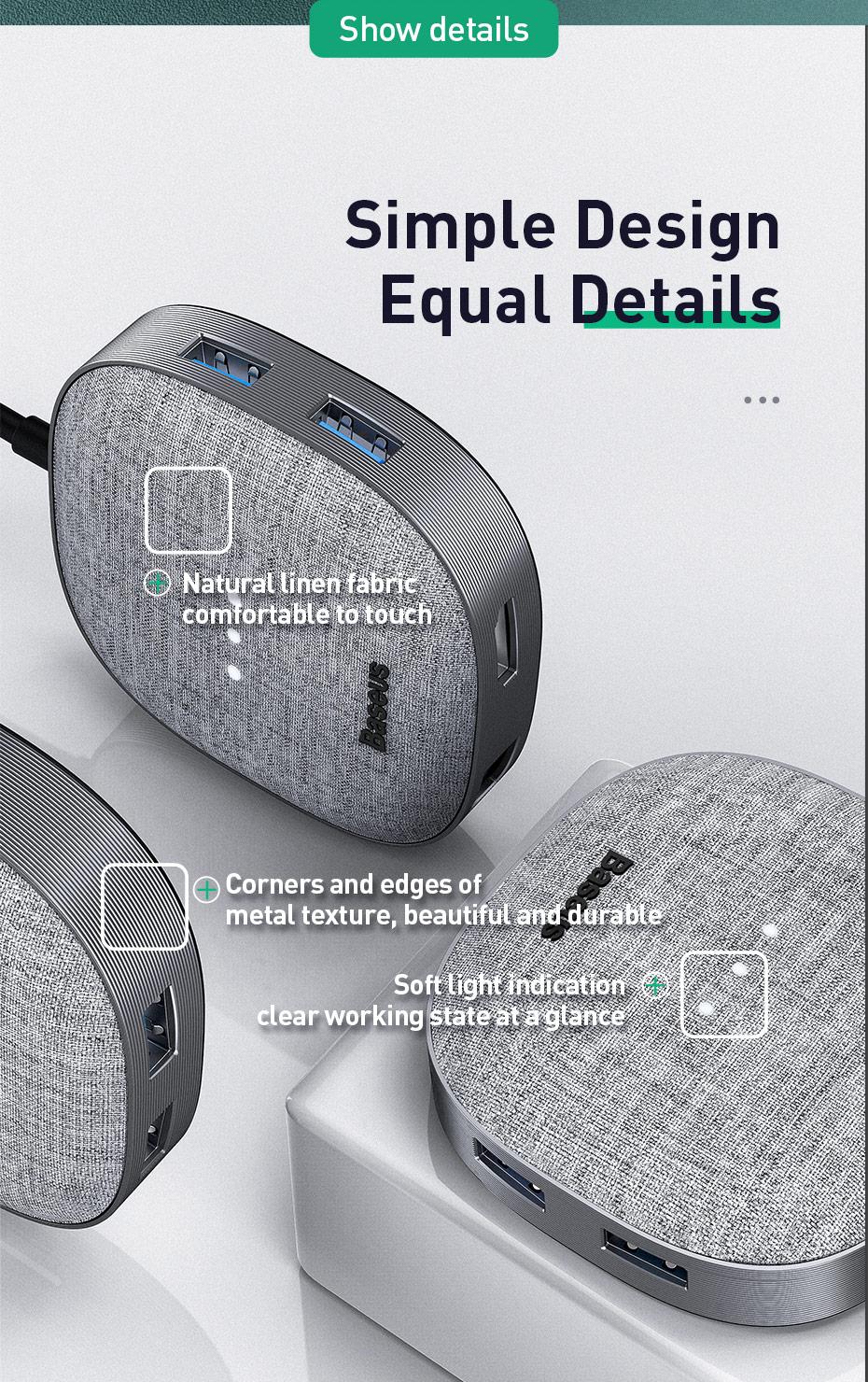 Baseus Frabric Series 7 in 1 Type-C Multifunctional HUB Adapter12