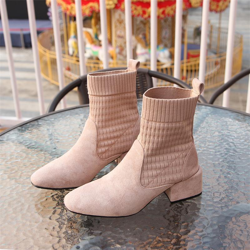 Женские ботинки носки; коллекция 2019 года; сезон осень; ботинки «Челси» из эластичной ткани и флока; универсальные черные вязаные Ботинки martin