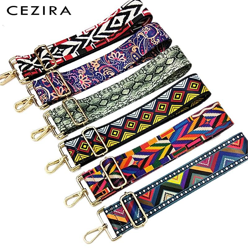 CEZIRA Handbag Long Strap Fashion Adjustable Wide Nylon Belt Color Stripe Flower Geometric Shoulder Handle Women Bag Accessories