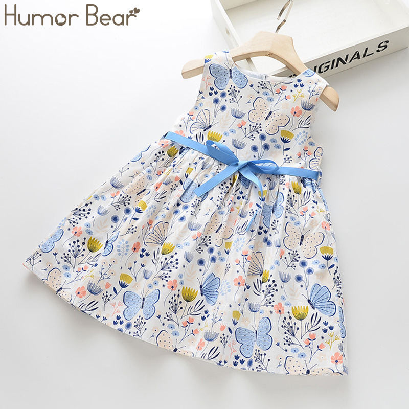 Humor Bear Girls Dress Summer Brand New Flowers Printed Bow Girls Party  Sleeveless Princess Dress Baby Kids Girl Clothing