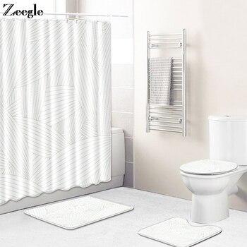 Zeegle Bath Mat Set Toilet Pedestal Rug Toielt Seat Cover Mat Anti Silp Bathroom Doormat Shower Mat 4pcs Bathroom Curtain Set