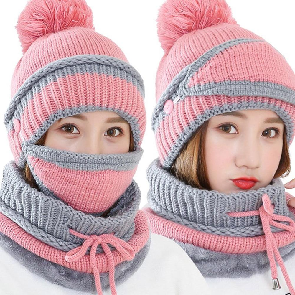 3Pcs Winter Women Thicken Warm Knitted Pompom Beanie Hat Cap Scarf Face Mask Set Outdoor Windproof Clothing Decor Accessory