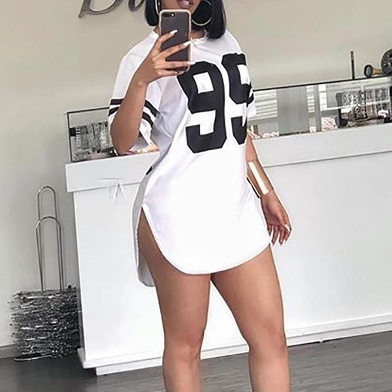 2021 New Number Print Short Sleeve Dresses for Women Summer Casual Solid O neck Dresses New Loose White Dress Sundress Robe Mini
