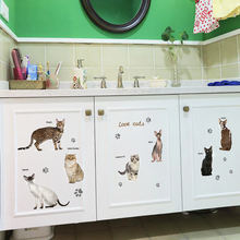 3d наклейки на стену с изображением кошки и котенка самоклеящиеся