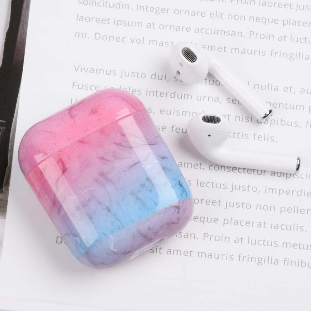 Luxury marble Hard PC Wireless Earphone Charging Case for Apple AirPods 1 2 High quality Glossy Bluetooth Box Headset case