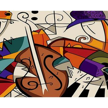 RUOPOTY 60x75cm Music Dream Frame DIY Painting By Numbers Landscape HandPainted Oil Painting Canvas Colouring Home Decor