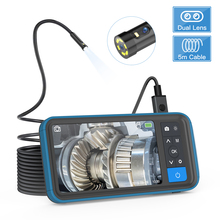 "Industrial Endoscope 1080P Dual Lens Inspection Camera 16.5ft Waterproof Borescope 4.5"" IPS Screen Snake Camera 32G Card PU Bag"