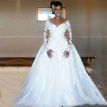 Eightale Long Sleeve Wedding Dresses Plus Size White Lace Sparkly Sequins Beaded Appliques Ball Gown 2020 African Bridal Gowns