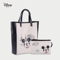 Disney Mickey Cartoon Women Canvas Leather Messenger Bag Handbag Girls Shoulder Bag Travel Large Capacity Mother Child Bag Print