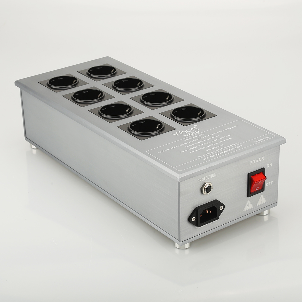 Viborg VE80 HiFi Power Filter Plant Schuko Socket 8Ways AC Power Conditioner Audiophile Power Purifier With EU Outlets